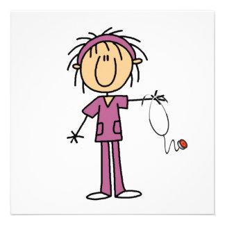 Figura femenina enfermera del palillo invitación