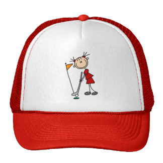 Figura femenina golfista del palillo gorra