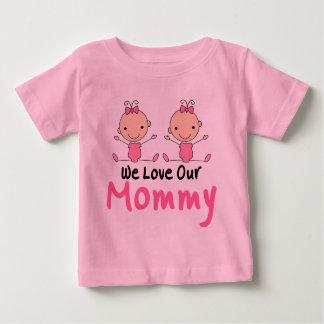 Figura gemela bebés del palillo de los chicas camisetas