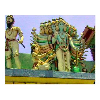 Figura hindú de la diosa del templo hindú postal