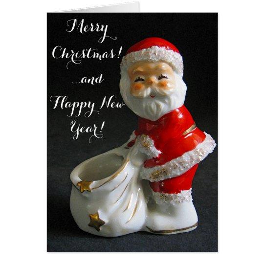 Figura linda navidad de santa del vintage tarjeta de felicitación
