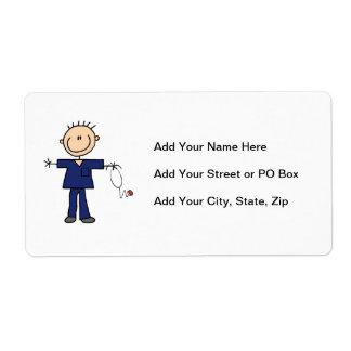 Figura masculina enfermera - azul del palillo etiquetas de envío