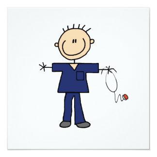 Figura masculina enfermera - azul del palillo invitación 13,3 cm x 13,3cm