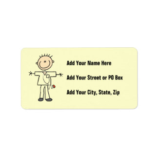 Figura masculina enfermera del palillo etiquetas de dirección