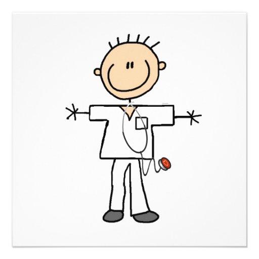 Figura masculina enfermera del palillo comunicado personalizado