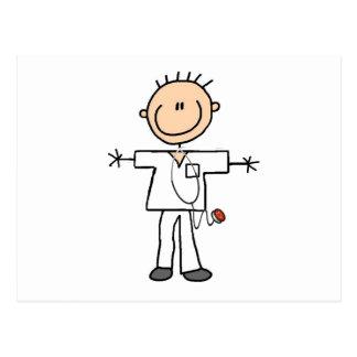 Figura masculina enfermera del palillo postal