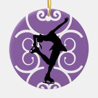 Figura ornamento del patinador - púrpura - adorno navideño redondo de cerámica
