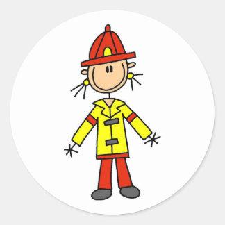 Figura pegatinas del palillo del bombero pegatina redonda