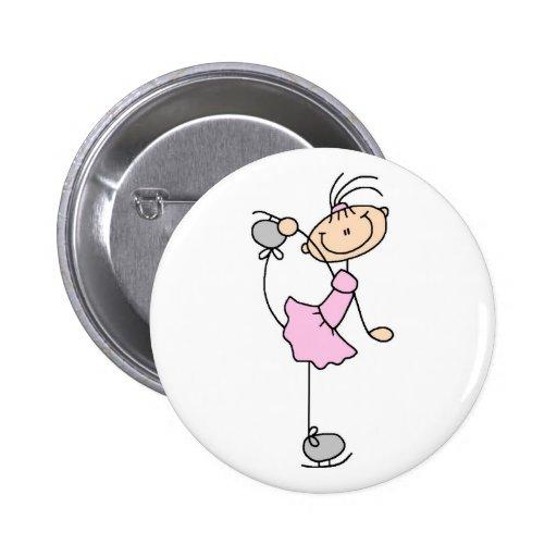 Figura rosada botón del patinador pins