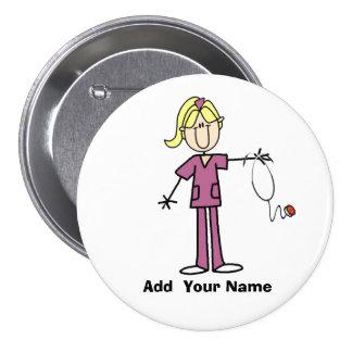 Figura rubia personalizada botón del palillo de la pin