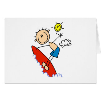 Figura tarjetas que practican surf del palillo del
