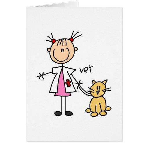 Figura veterinaria tarjeta del palillo
