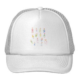 Figuras coloridas de la gente que dibujan b claro  gorra