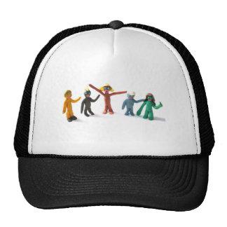 figuras de la gente del plasticine que dicen hola gorras