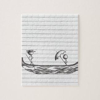 Figuras del palillo en un barco de la góndola puzzle