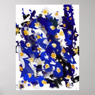 "Fijar vertical, grande modelo, ""Blue Flowers "" Póster"
