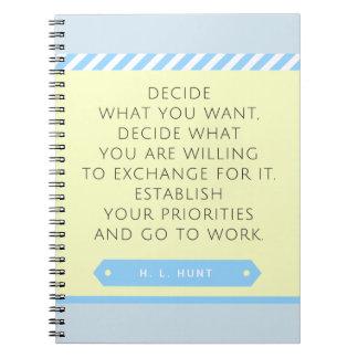 Fije su cuaderno de las prioridades