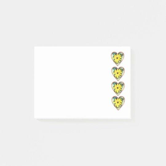Fila de corazones, de margaritas y de mariposas notas post-it®