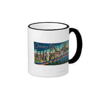 Fila de la fábrica de conservas California - esce Tazas De Café