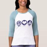 Fila del amor de la paz camiseta