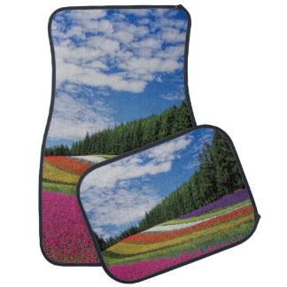 Filas coloridas del sistema de las flores de 4 alfombrilla de coche