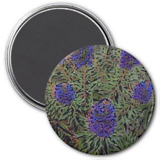 Filas de la planta púrpura Del Mar de la lavanda Imán Redondo 7 Cm