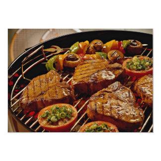 Filetes asados a la parrilla deliciosos del invitación 12,7 x 17,8 cm