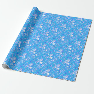 Filicinae en fondo azul papel de regalo