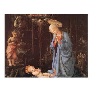 Filippo Lippi- la adoración del Jesús infantil Postal
