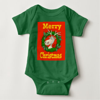 Filón del reno del navidad body para bebé