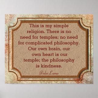 Filosofía de la amabilidad - cita de Dalai Lama - Póster