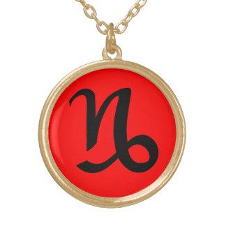 Final rojo del oro del símbolo negro del colgante redondo