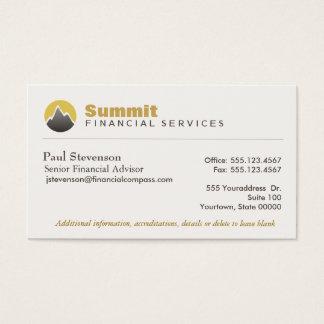 Finanzas financieras profesionales del consejero y tarjeta de negocios