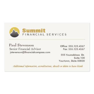 Finanzas financieras profesionales del consejero y plantilla de tarjeta personal