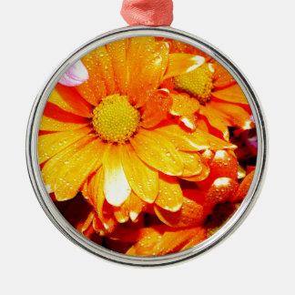 Fiore anaranjado vibrante adorno de cerámica