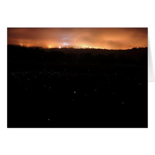Fireflys en la noche tarjeta de felicitación
