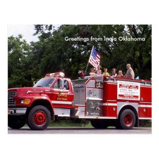 Firetruck, saludos de Inola Oklahoma Postal