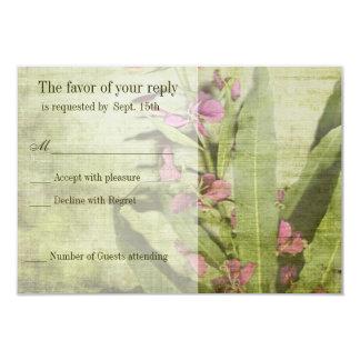 Fireweed rústico del rosa del país que casa las invitación 8,9 x 12,7 cm