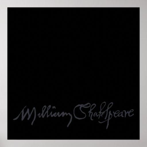 Firma de William Shakespeare Póster