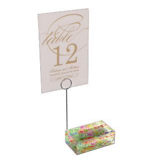 Firma elegante del país en el jardín soportes de tarjeta de mesa