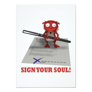 Firme su alma al diablo invitacion personalizada