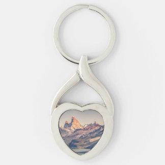 Fitz Roy y montañas de Poincenot los Andes - Llavero Plateado En Forma De Corazón
