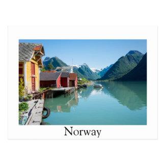 Fjærland y postal de la frontera del fiordo,