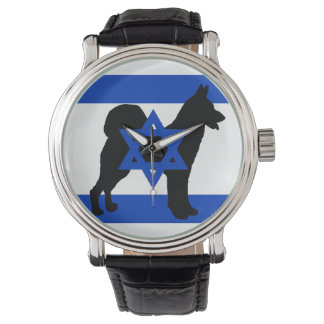 flag_of_israel cannan de la silueta del perro reloj de pulsera