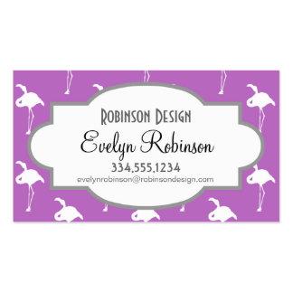 Flamenco blanco en púrpura de la lavanda tarjetas personales