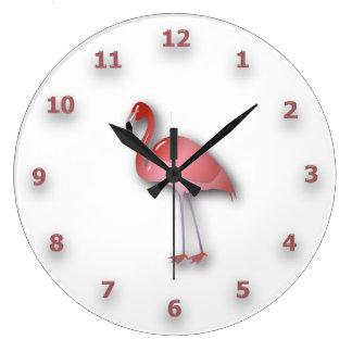 Flamenco brillante con números rosados reloj redondo grande