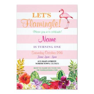 Flamenco de Flamingle cualquier cumpleaños de la Invitación 12,7 X 17,8 Cm