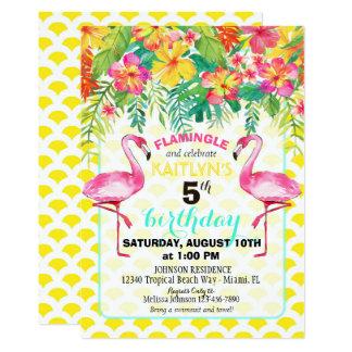 Flamenco de la acuarela y cumpleaños floral invitación 12,7 x 17,8 cm
