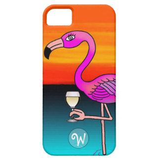Flamenco del consumo de vino rosado con monograma iPhone 5 Case-Mate carcasas