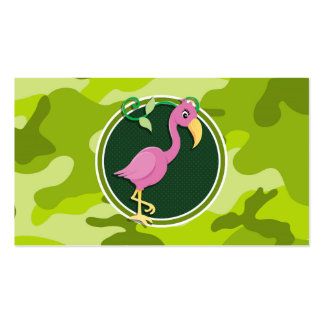 Flamenco rosado; camo verde claro, camuflaje tarjetas de visita